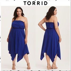 NWT Torrid Cobalt Blue Smocked Jersey Tube Dress 1